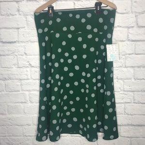 LuLaRoe NWT Azure Green Polka Dot Skirt Size 2XL
